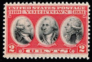 US STAMP #703 – 1931 2c Yorktown Issue mnh/og vignette error