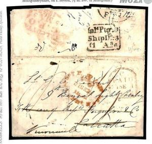 M62a GB WALES INDIA MAIL *Newtown* Montgomerys Military Entire Letter 1832