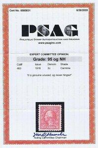 SC# 463 UNUSED ORIG GUM MNH 2C WASHINGTON 1916, 2020 PSAG CERT GRADED XF-S 95