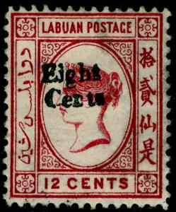 LABUAN SG15, 8c on 12c carmine, M MINT. Cat £150.
