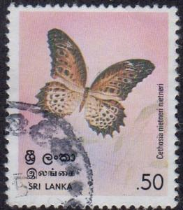 Sri Lanka 535 - Used - 50c Tamil Lacewing Butterfly (1978)