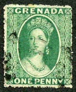 Grenada SG19 1d Green wmk Small Star (sideways) Rough Perf 14.5 Cat 9.50 pounds