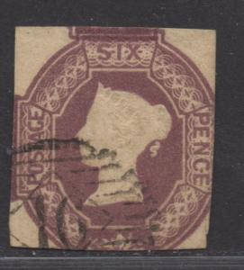 **Great Britain, SC# 7a, USed, Average, Dull Violet, SMall S cissor Cut LR Mgn