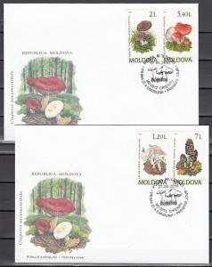Moldova, Scott cat. 665-668. Mushrooms issue on 2 First day covers.