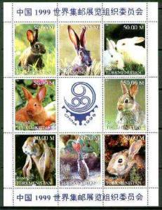 Turkmenistan 1999 Rabbits sheetlet containing complete se...