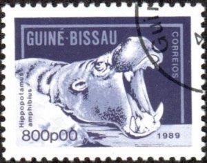 Guinea-Bissau 862 - Used - 800p Hippopotamus (1989) (cv $1.00) (2)