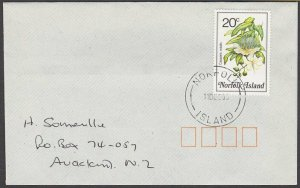 NORFOLK IS 1995 cover to New Zealand  - 20c flowers.........................A719