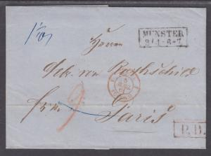 Germany, 1861 Stampless SFL, Münster to Paris