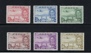 PAPUA SCOTT #C10-C15 1939-41 AIR MAILS- MINT LIGHT HINGED