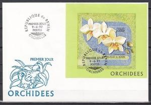 Benin, Scott cat. 979. Orchids s/sheet on a First Day Cover.