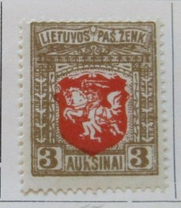 A11P4F9 Litauen Lituanie Lithuania 1919 Wmk Wavy Lines 3auk White Paper MH*