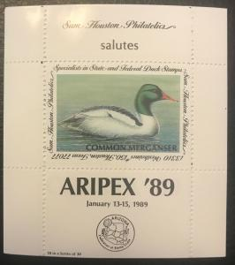 Sam Houston Philatelics salutes ARIPEX '89 January 13-15, 1989 MNH