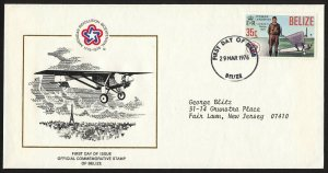 wc022 Belize March 29, 1976 FDC US Bicentennial 1776-1976 Charles Lindbergh