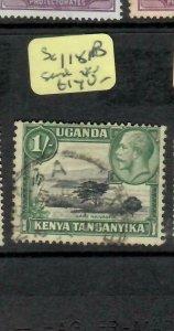 KENYA, UGANDA, TANGANYIKA   (P1205B)  KGV  1/- GOOD PERF SG 118B  VFU