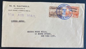 1933 San Jose Costa Rica Airmail Cover To New York Usa