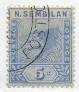 Malaya Negri Sembilan 1894 5 cents Tiger ultra CDS used