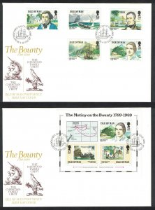 Isle of Man Bicentenary of the Munity on the Bounty 5v+MS FDC SG#408=MS415