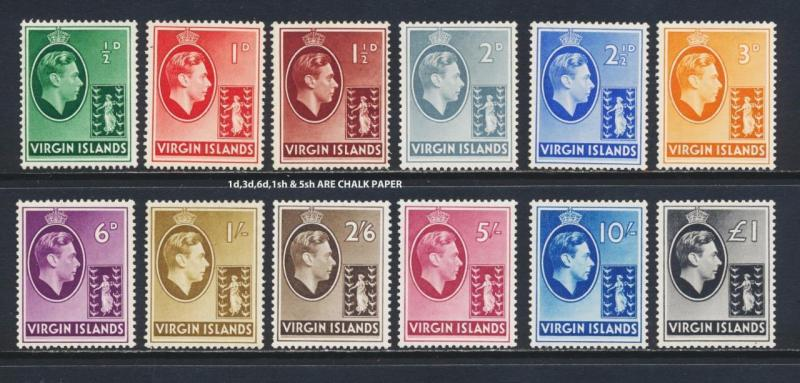 BRITISH VIRGIN IS 1938 SET (INC SOME CHALK PAPER) VF LH OG SG#110-21 CAT$210+/-
