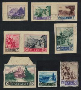 San Marino Views 9v canc some on paper COMPLETE SG#406-415 MI#442-450 CV£230+