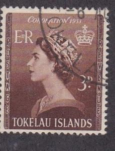 Tokelau  # 4, Queen Elizabeth II Coronation, Used, 1/2 Cat.