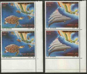 MEXICO 1281-82 Conservat. of Turtles and Gray Whales Imprint Var. MINT, NH. VF.