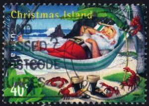 Christmas Island: SC#422 Santa Claus in Hammock (1999) Used