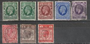 #210,212,214,215,154,206-07 Great Britain Used George V