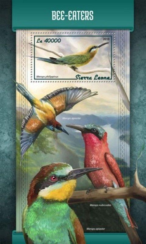 Sierra Leone - 2018 Bee-eaters on Stamps - Souvenir Sheet - SRL18113b