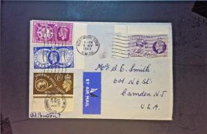 Great Britain 1949 Airmail Cover to USA w/ UPU Set to 1/ - Z1271