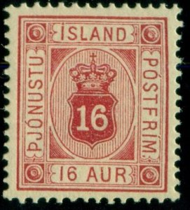 ICELAND #O7 (Tj7) 16aur carmine, og, NH, XF