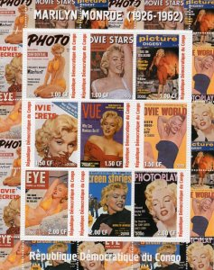 MARILYN MONROE Magazine Cover Sheet Perforated Mint (NH) #1