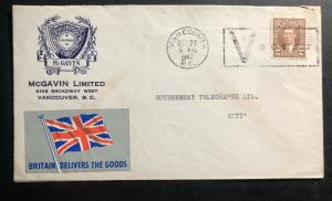 1941 Vancouver Canada Victory cancel Cover Britain Delivers The goods Label