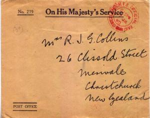Great Britain Official Free Mail 1940 London F.S. Office Paid to Merivale, Ne...