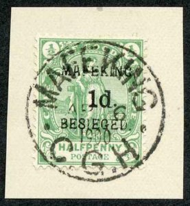 MAFEKING SG2 1d on 1/2d green Surcharge position 2 AP 6 cds on Piece