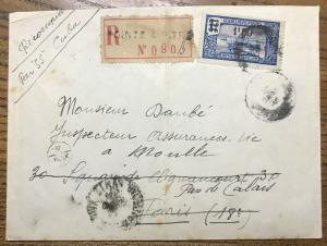 GUADELOUPE - 1932 - Yv.95 1fr50/1fr bleu seul sur LSC recommandée pour Paris