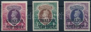 India stamp Gwalior George VI. set 3 closing values 1938 MNH Mi 99-101 WS222044