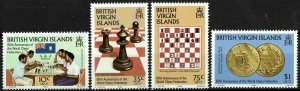 VIRGIN ISLANDS #462-65 1984 10c TO $1 WORLD CHESS FEDERATION ISSUES-MINT-OG/NH