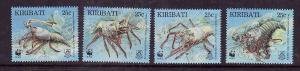 Kiribati-Sc#715-18-Unused NH set-Marine Life-Spiny Lobsters-WWF-1998-