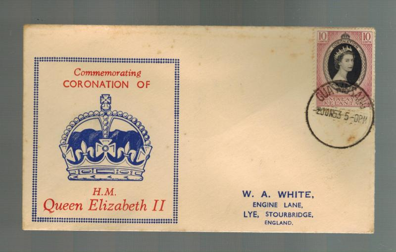 1953 Malaya Kelantan Coronation England first day cover QE2 Queen Elizabeth II