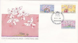 Cocos Islands # 75-77, Christmas, Childrens Drawings, First Day Cover