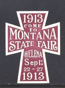 USA Cinderella Montana State Fair Helena 1913 Embossed Die Cut Purple