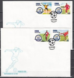 Cuba, Scott cat. 4400-4403. FIFA-Soccer issue. First day cover. ^