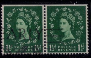 Great Britain SG 589 Used Vertical Pair 2 Graphite Lines Variety (Sc 355c)F-VF