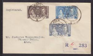 Aden Sc 13-15 FDC. 1937 Coronation, complete set on Registered local cover