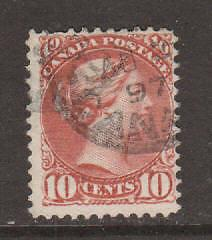 Canada Sc 45 used 1897 10c brown red Small Queen