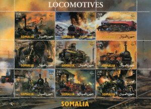 Somalia 2003 LOCOMOTIVES Sheetlet # 2  (9) PERFORATED MNH
