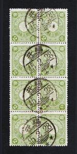 1899 2 SEN SCOTT #96 KIKU BLOCK OF 8 ⭐ POSTMARK FUKUI PREFECTURE ⭐ MEIJI ERA