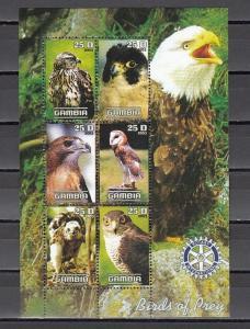 Gambia, 2003 Cinderella issue. Birds of Prey & Owl sheet of 6.  Rotary logo