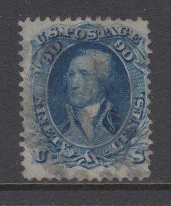 US Sc 72 used 1861 90c blue Washington, sound, Fine & Scarce