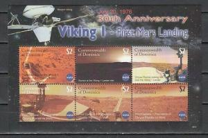 Dominica, Scott cat. 2578. Viking 1, First Mars Landing sheet.